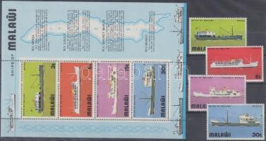 1975 Hajó sor Mi 242-245 + blokk 39