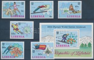 1976 Téli Olimpia, Innsbruck sor Mi 980-985 A + blokk 79 A