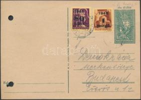 1945 (2.díjszabás) Távolsági 18f levelezőlap Kisegítő (II) 80f/24f és 1P/20f díjkegészítéssel, regiszterlyukasztással
