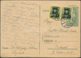 1945 (5.díjszabás) Távolsági levelezőlap Kisegítő (III) 40P/8f bérmentesítéssel
