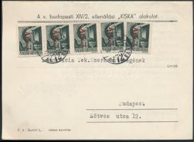 1946 (7.díjszabás) Nyomtatvány Betűs 5 x Any.I. bérmentesítéssel / 5 x Mi 852 on printed matter