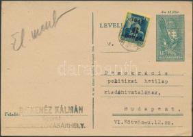 1945 (3.díjszabás) Távolsági 18f levelezőlap Kisegítő (II) 6P/50f bérmentesítéssel