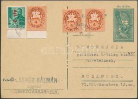 1946 (8.díjszabás) Távolsági 18f levelezőlap Betűs (II) Ajl.2./12f és Lovasfutár 3x4eP bérmentesítéssel / Domestic PS-card