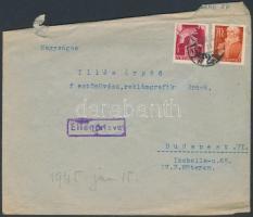 1945 (1.díjszabás) Cenzúrás távolsági levél Hadvezérek 30f és nagyasszonyok 70f bérmentesítéssel (sérült)