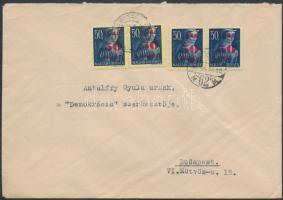 1945 (3.díjszabás) Helyi levél Kisegítő (I) 4x50f/50f bérmentesítéssel