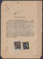 1945 (3.díjszabás) Telefonszámla könyvelési szelvény Kisegítő (II) 2P/4f + 3P/50f bérmentesítéssel