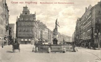 Augsburg, Merkurbrunnen, Maximilianstrasse / fountain, street, shop of J. J. Bhack