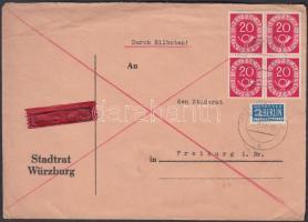 1951 Posthorn 20Pf négyestömb expressz levélen