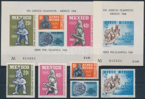 1965 Nyári Olimpia 68, Mexikó sor Mi 1192-1196 + blokk 3-4