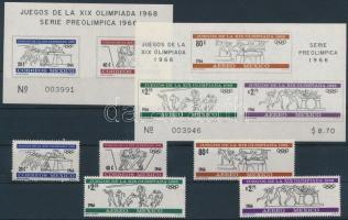 1966 Nyári Olimpia 68, Mexikó sor Mi 1214-1218 + blokk 5-6