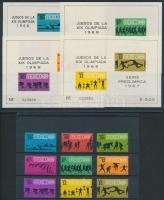 1967 Nyári Olimpia 68, Mexikó sor Mi 1236-1244 + blokk 7-10, 2 db stecklpaon