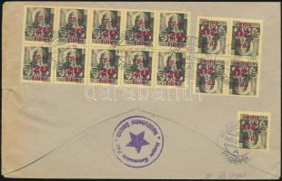 1945 (2. díjszabás) Távolsági levél Kisegítő (I) 15x20f/18f bérmentesítéssel, a Magyar Kommunista Párt Hajdúböszörményi Szervezete bélyegzéssel / Domestic cover franked with 15 stamps