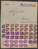 1946 (17. díjszabás) Távolsági levél 43 db bélyeggel bérmentesítve / Domestic cover franked with 43 stamps (boríték szétnyitva / opened for exposition purpose) (5 db bélyeg széle hiányzik )