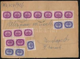 1946 (18. díjszabás) Kifordított szükségborítékos távolsági levél Nyomtatványként feladva 17 db bélyeggel 118mP értékben bérmentesítve / Domestic cover franked with 17 stamps