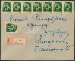 1945 (2.díjszabás) Ajánlott távolsági levél 8x1P/1P Kisegítő (I) bélyeggel bérmentesítve, piros kettős keretvonalú kör gumibélyegzővel és külön dátum bélyegzővel bélyegezve / Registered domestic cover with rubber cancellation