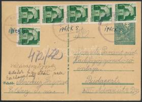 1945 (3.díjszabás) Távolsági levelezőlap Hadvezérek 6x1P bérmentesítéssel gyűrűs, koronás gumibélyegzővel / Domestic PS-card with rubber cancellation