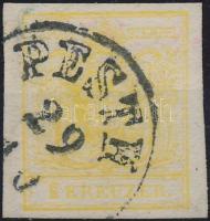 1850 1kr krómsárga / chrome yellow MP III. jó / óriási szélekkel, élénk szín PESTH
