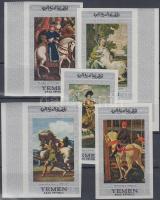 1968 Lovas festmények (II.) vágott sor, közte ívszéli és ívsarki bélyegek Mi 756-760