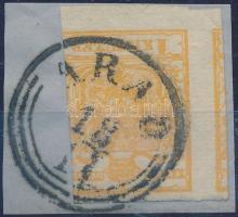 1850 1kr sötétnarancs / dark orange HP I. jobb oldalon bevágva egyébként nagy szélekkel / cut on the right side, Quadriliertes paper ARAD