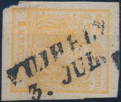 1850 1kr narancs / orange HP III. teljes / szép szélekkel, szép szín / with nice margins V.UJHELY Certificate: Rismondo