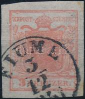 1850 3kr HP I óriási szélekkel, kiemelt középrész, selyempapr / nice margin, silk paper FIUME / 1851