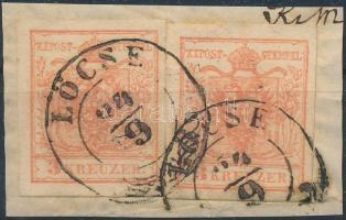 1850 2 x 3kr MP III. szép szélekkel / with nice margins LÖCSE (enyhe hajtásnyom / folded)