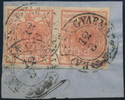 1850 3kr pár / pair HP III. jó / szép szélekkel / with nice margins, a jobb oldali bélyegen kis papírránc / small paper crease on the stamp on the right side BALASSA GYARMAT