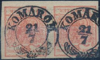 1850 3kr pár / pair HP III. teljes / óriási szélekkel, Quadrilliertes paper / with nice margins KOMÁROM