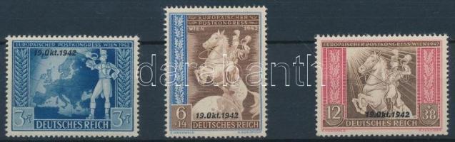 1942 Európai postai egyezmény felülnyomott sor Mi 823-825