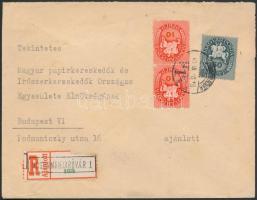 1946 (8.díjszabás) Ajánlott távolsági levél 2. súlykategóriában Lovasfutár 2x10eP + 50eP bérmentesítéssel, a ragjegyre a hivatal neve fémbélyegzővel nyomva / Registered domestic cover 2nd weight class