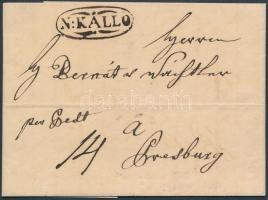 1836 Portós levél / unpaid cover N:KÁLLO - Presburg