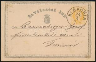 1871 Díjjegyes levelezőlap / PS-card KLOPODIA