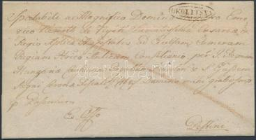 1826 Félportós ex offo / cover with half postage due OKOLITSNA - Pestini