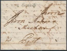 1783 Portós levél / unpaid cover v Hermanst: - Pest