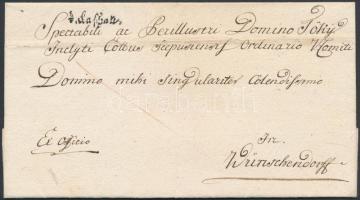 1784 Félportós ex offo / with half postage due v.Cashau - Wünschendorf