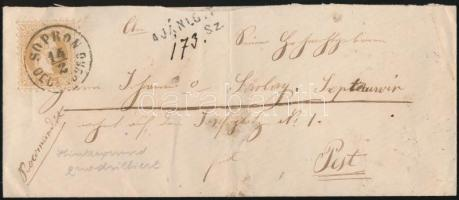 ~1868 15kr ajánlott levélen / on registered cover SOPRON / OEDENBURG - PEST