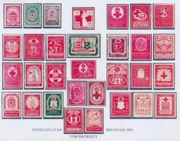 1944-es Közigazgatási Vöröskereszt bélyegeket bemutató lap, hátoldalán összefoglaló táblázat + Vöröskereszt segélybélyeg