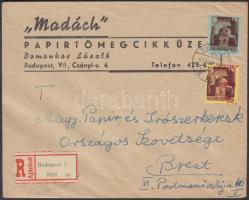 1945 (2.díjszabás) Ajánlott helyi levél Kisegítő (I) 2P/2P és 5P/5P bérmentesítéssel. Az 5P a felülnyomás függőlegesen és jobbra elcsúszott / Registered local cover franked with Mi 809 with shifted overprint + Mi 804