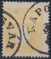 "2kr II yellow,  shifted perforation. Signed: Ferchenbauer, 2kr sárga II. elfogazva ""KAPOSVÁR"" Signed: Ferchenbauer"
