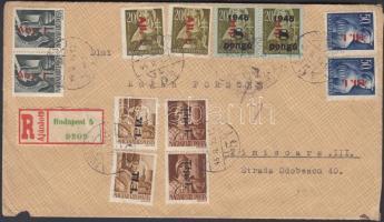 1946 (7. díjszabás) Ajánlott levél Romániába 19 db bélyeg vegyes bérmentesítéssel / Registered cover franked with 19 stamps to Romania