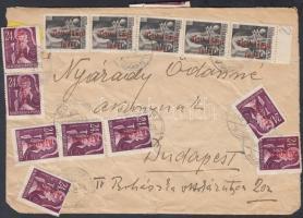 1946 (17. díjszabás) Távolsági levél 36 db Betűs (III) bélyeg bérmentesítve, kifordított és újra felhasznált boríték / Domestic cover franked with 36 stamps, reused cover
