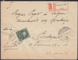 1946 (13. díjszabás) Ajánlott helyi levél Lovasfutár 3x100ep, 160eP + 800eP bélyeggel bérmentesítve / Mi 3x887, 888, 892 on registered local cover