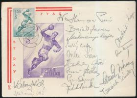 1959 A magyar kézilabdacsapat tagjainak saját kezű aláírása első napi borítékon a világbajnokságról / 1959 Hungarian handball team members signature on FDC of the World Cup