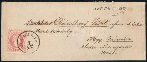 1867 5kr levélen / on cover KIS-MARJA - NAGYVÁRAD