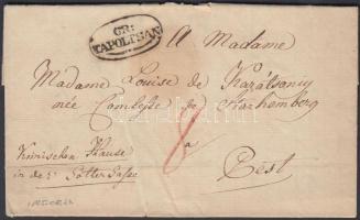 1825 Portós levél tartalommal / unpaid cover with content GR: / TAPOLTSAN - Pest
