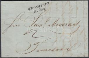 1842 Portós levél tartalommal / unpaid cover with content KRONSTADT - TEMESVÁR