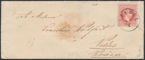 1871 5kr levélen / on cover SZAKUL - TEMESVAR - WIEN - kék / blue VELDES
