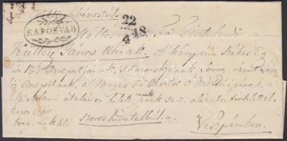1848 Hivatalos levél / official cover KAPOSVÁR - Veszprém