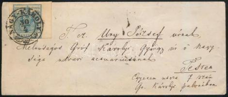 1856 9kr jobb ívszél 7mm levélen / on cover NAGY-KÁROLY -PESTH / Früh