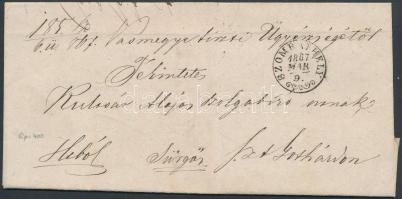 1867 Hivatalos levél / official cover SZOMBATHELY (Gudlin 400p) - St:GOTHARD